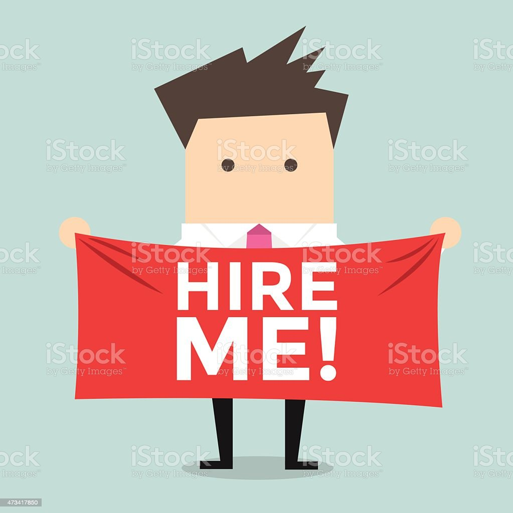 Businessman holding a banner for hiring vector art illustration