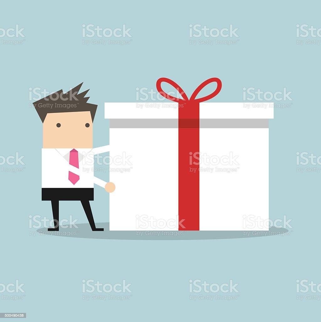 Businessman holding a big gift box for Christmas festival vector art illustration