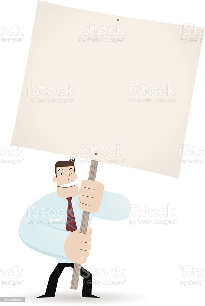 Businessman ( Teacher ) holding a blank sign for your message royalty-free stock vector art