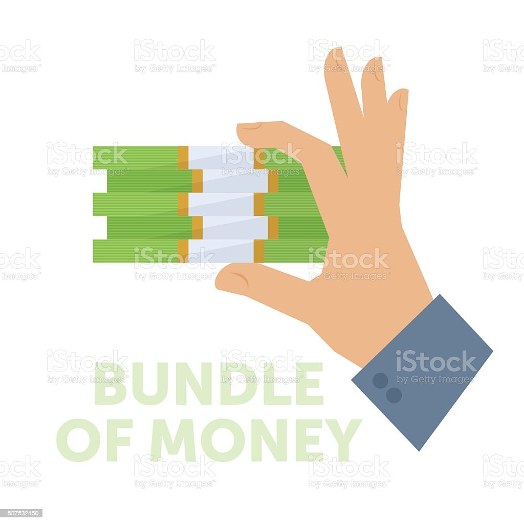 Businessman holding a bundle of money. Flat vector isolated illustration vector art illustration