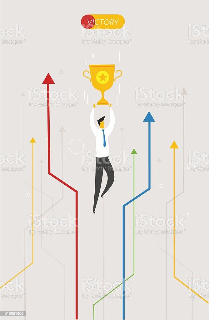 Businessman holding a cup vector art illustration