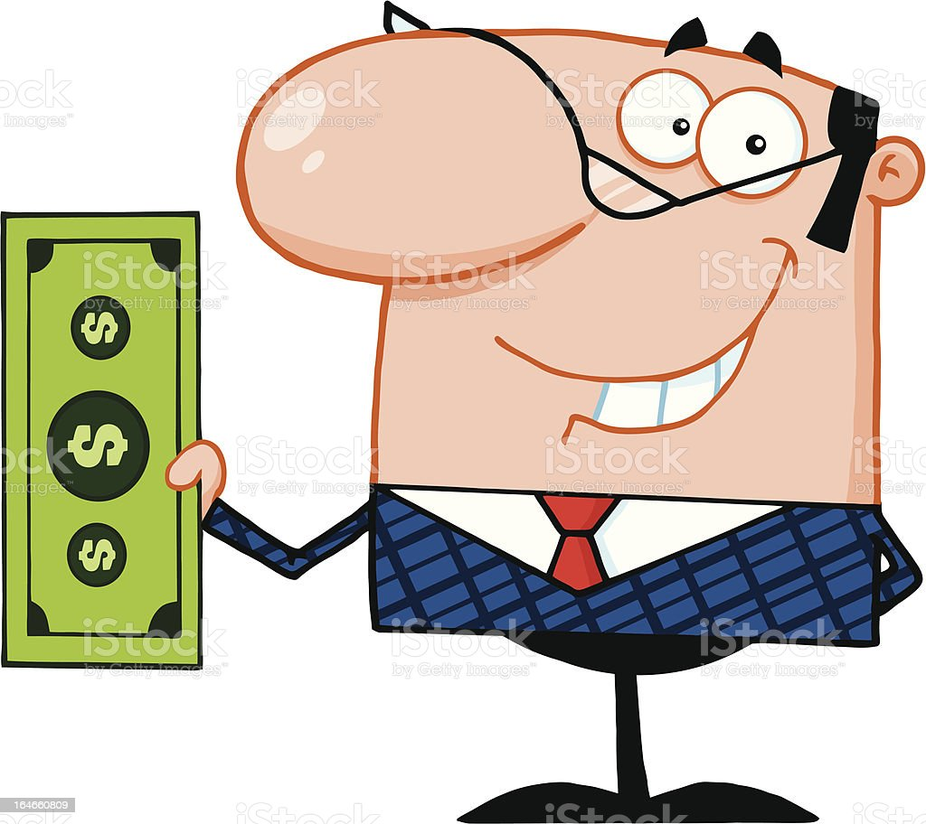 Businessman Holding A Dollar Bill royalty-free stock vector art