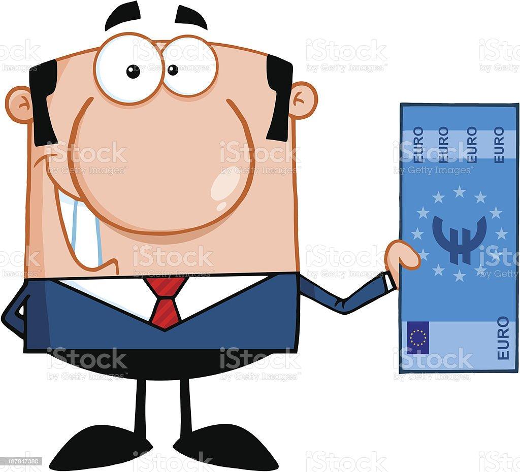 Businessman Holding a Euro Bill vector art illustration