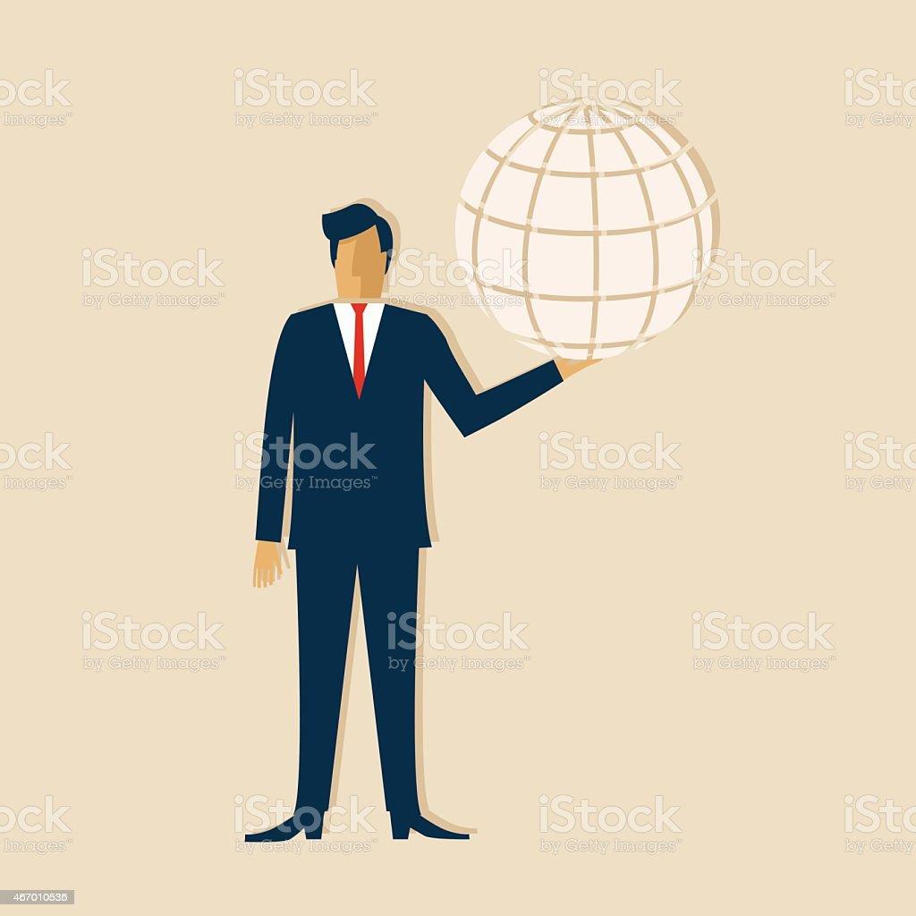 Businessman Holding A Globe vector art illustration