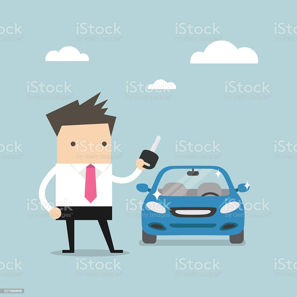 Businessman holding a key of a new car vector art illustration
