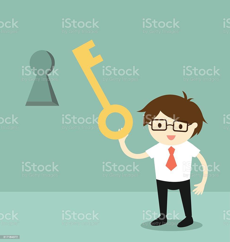 Businessman holding a key to unlock keyhole on the wall. vector art illustration