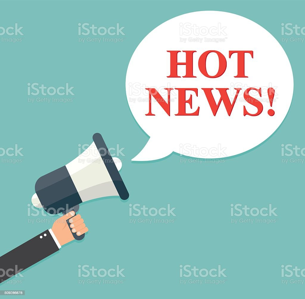 Businessman holding a megaphone - Hot News vector art illustration