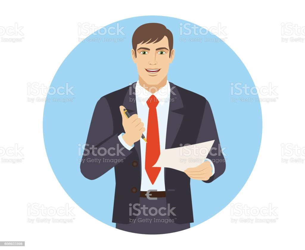 Businessman holding a pen and paper vector art illustration
