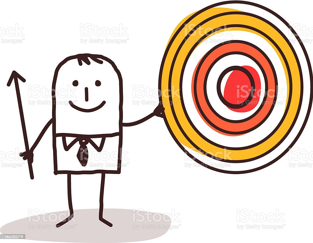 Businessman Holding A Target and Arrow royalty-free stock vector art