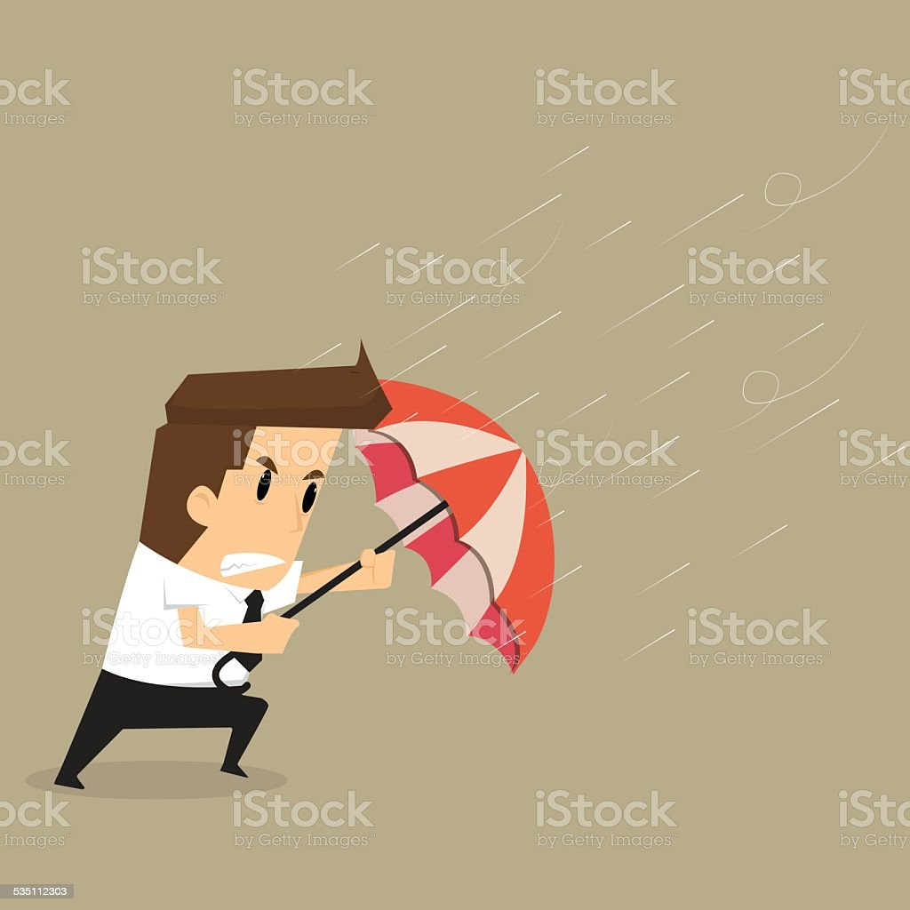 businessman holding an umbrella in the middle of a rainstorm vector art illustration