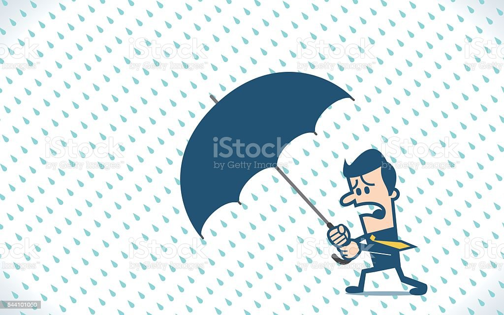 Businessman holding an umbrella in the rainstorm vector art illustration