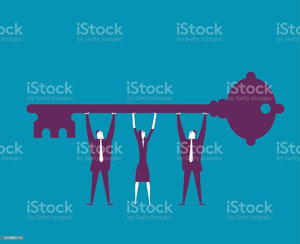 Businessman holding big Key vector art illustration