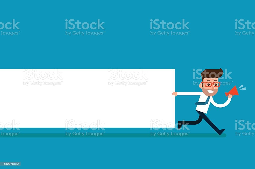 Businessman holding blank notes. vector art illustration