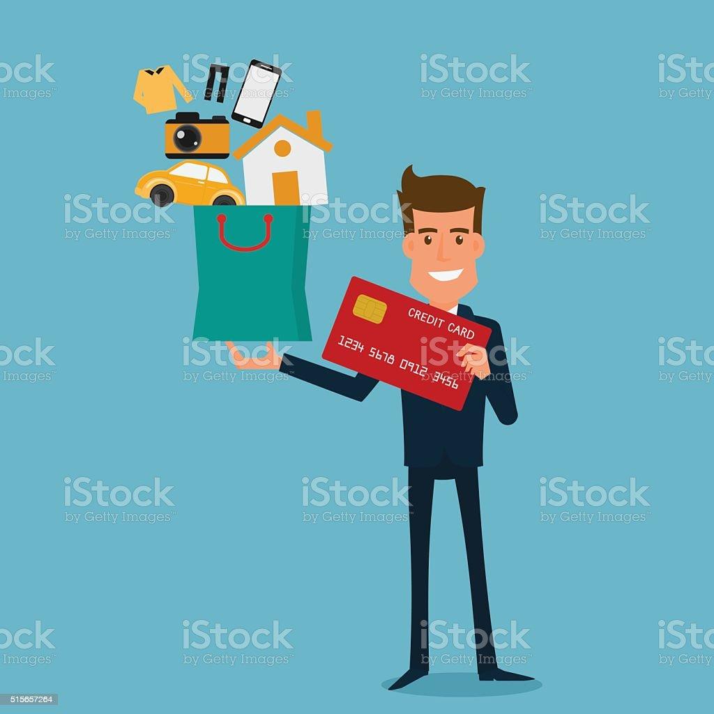 businessman holding credit card and shopping bag vector art illustration