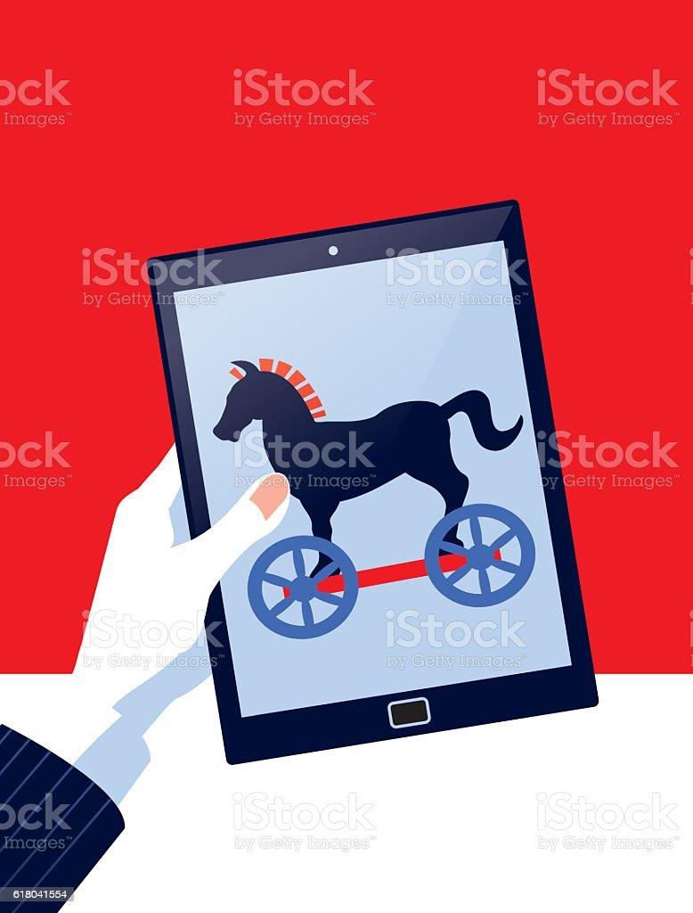 Businessman Holding Digital Tablet Computer with Trojan Horse vector art illustration