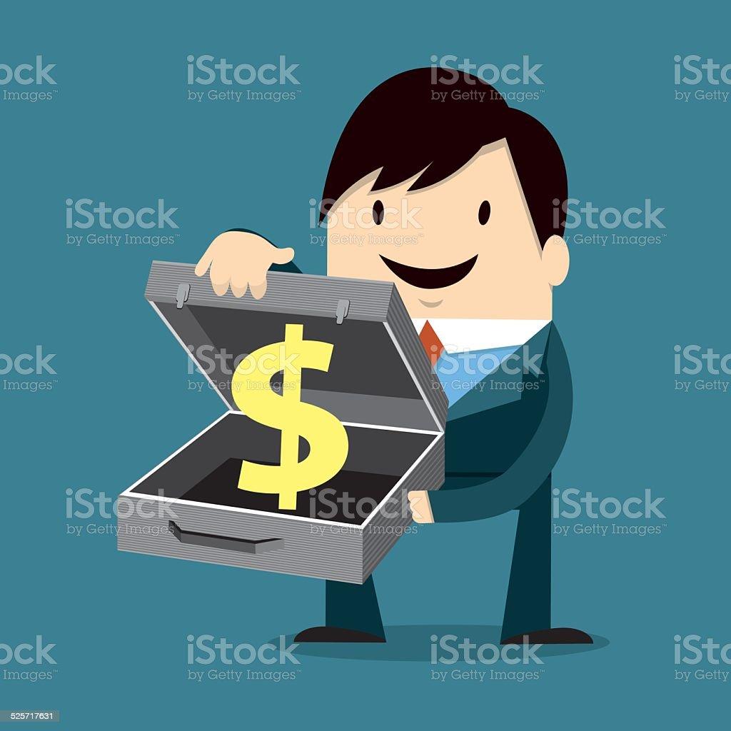 Businessman Holding Dollar Sign vector art illustration