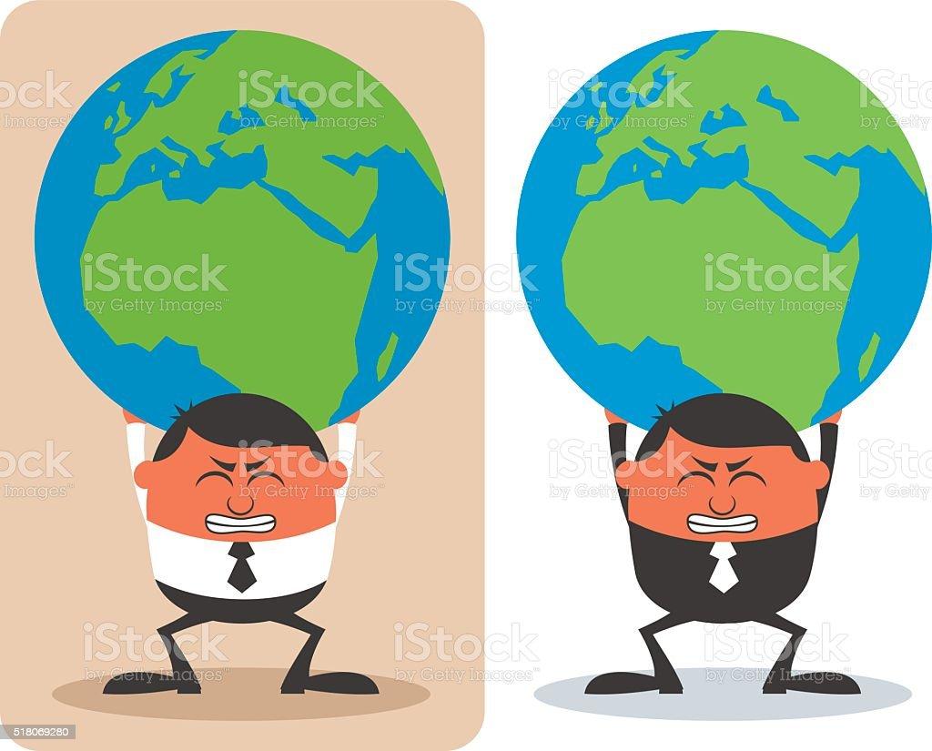 Businessman Holding Earth vector art illustration