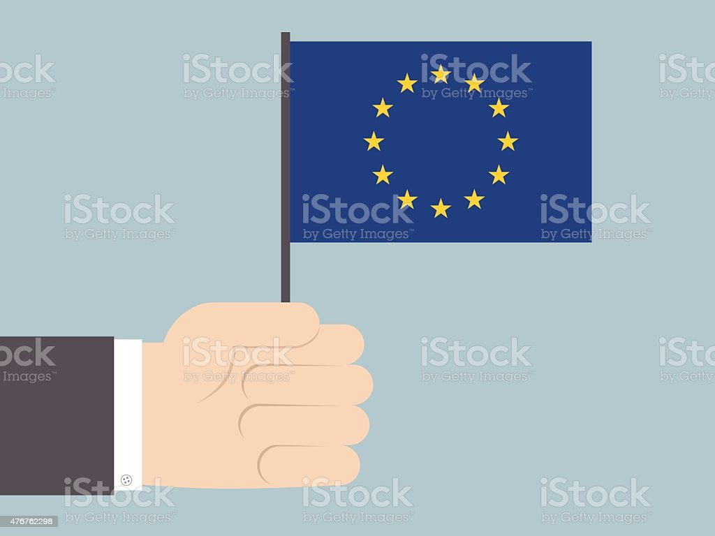 Businessman holding EU flag vector art illustration