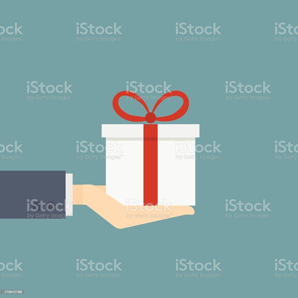 businessman holding gift box vector art illustration