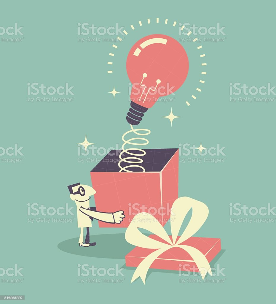 Businessman holding gift box with idea light bulb with spring vector art illustration