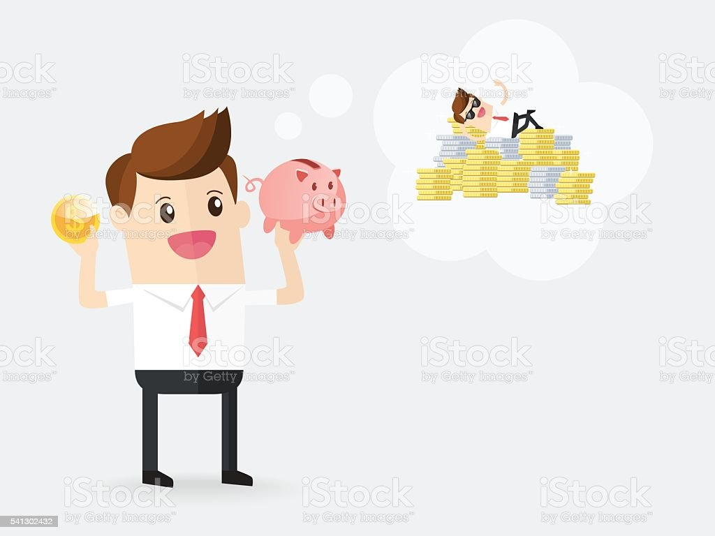 businessman holding gold coin with piggy bank and daydreaming vector art illustration