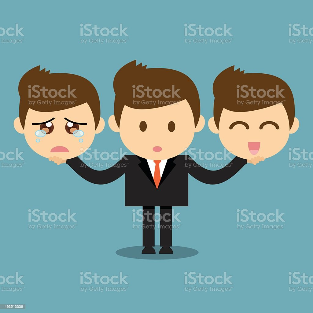 Businessman holding happy and sad emotions face. vector art illustration