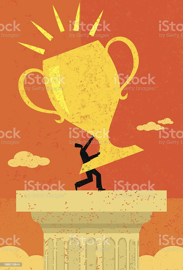 Businessman holding his trophy royalty-free stock vector art