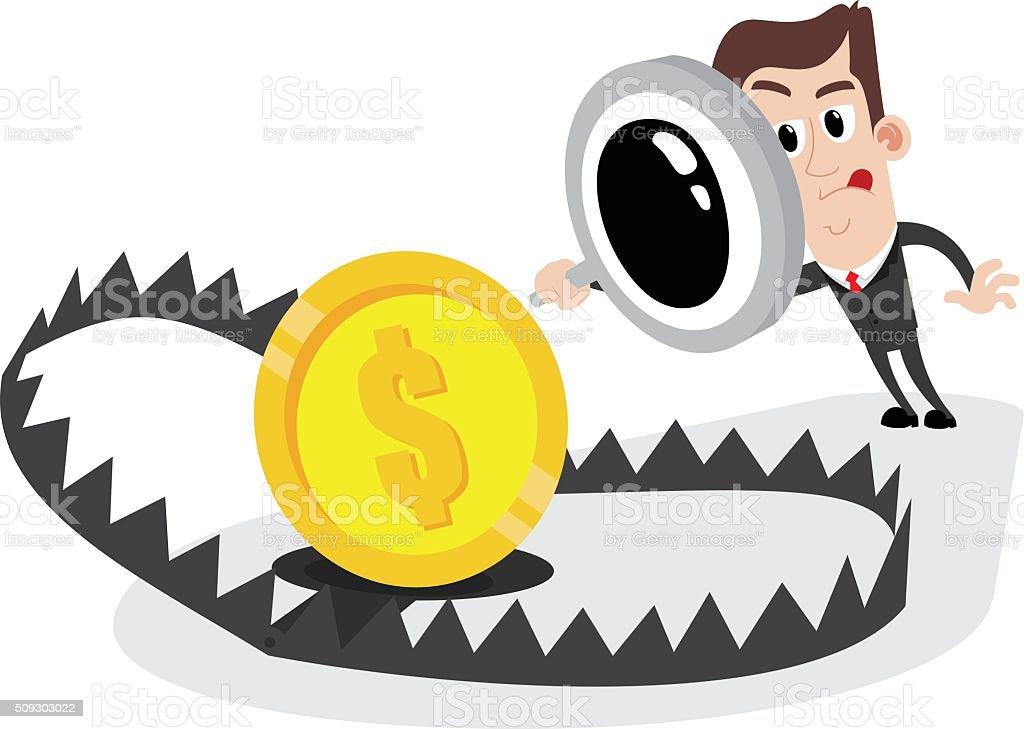 Businessman holding magnifier and looking at bear trap with money vector art illustration