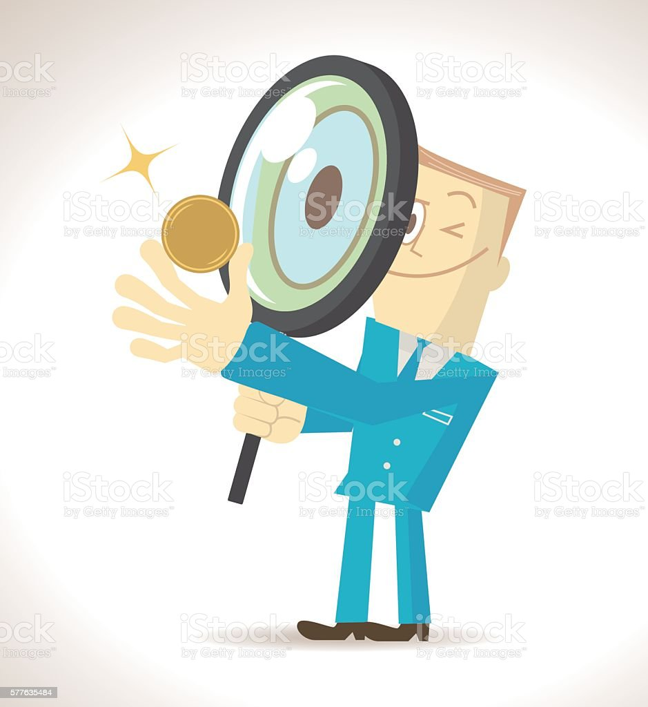 Businessman (detective) holding magnifying glass and an gold currency coin vector art illustration