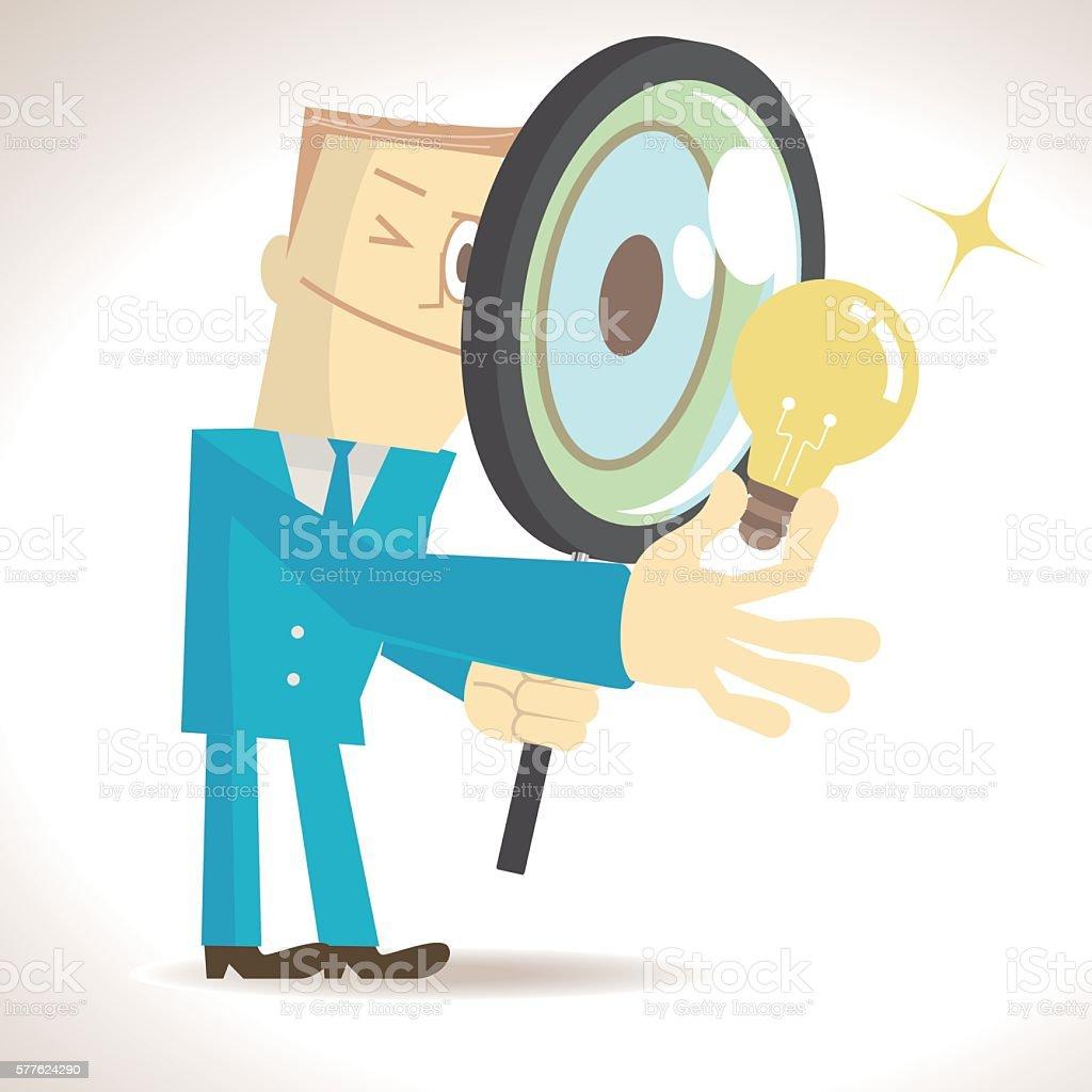 Businessman (elite) holding magnifying glass and an idea light bulb vector art illustration