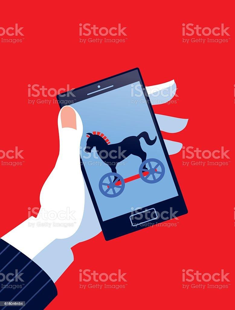 Businessman Holding Mobile Phone with Trojan Horse vector art illustration