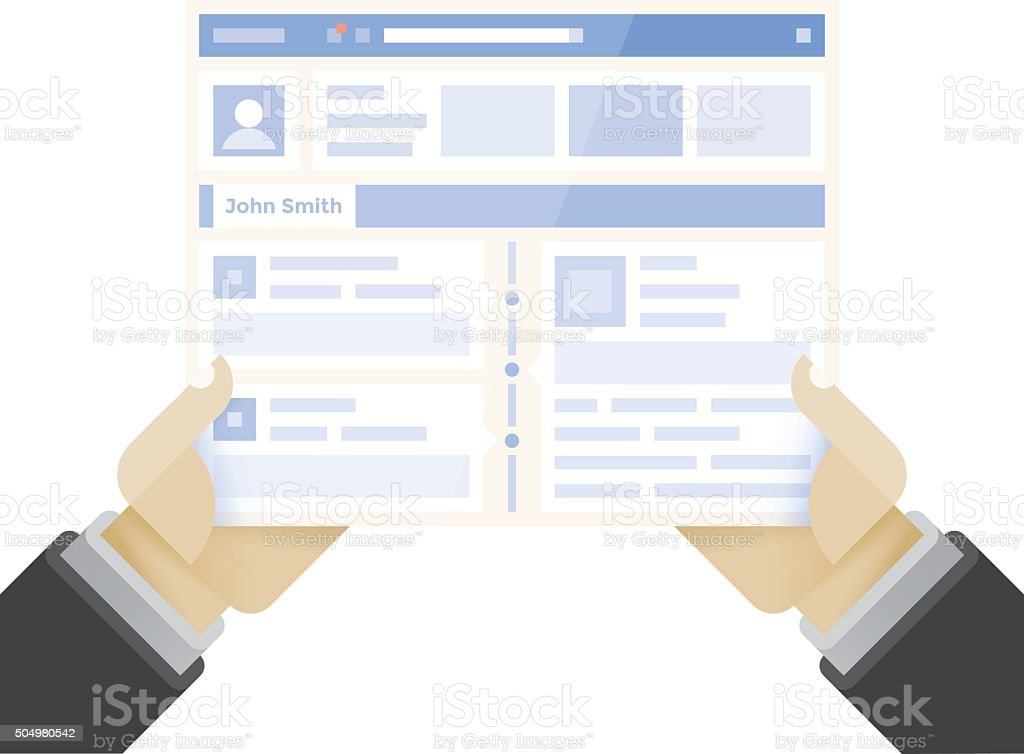 Businessman holding online business internet page with social network site vector art illustration