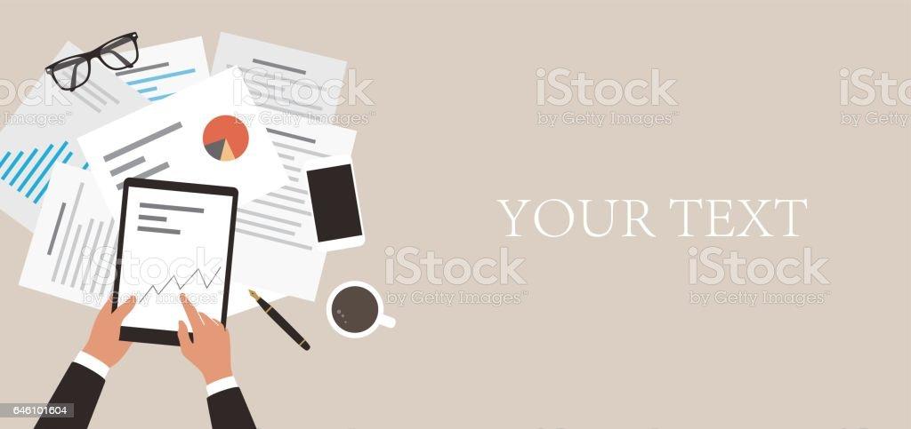 businessman holding pad analyzing data, diagram vector art illustration