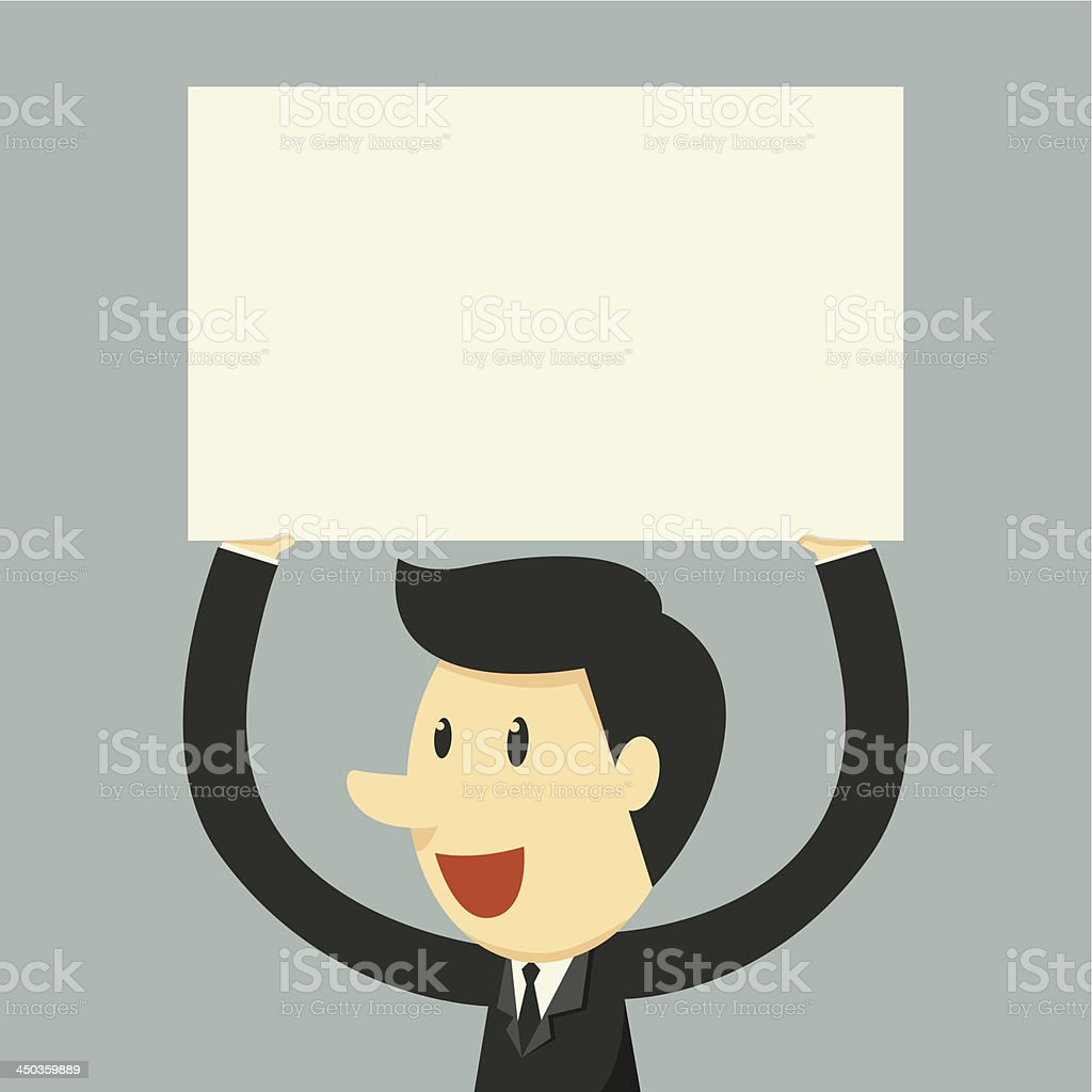 businessman holding paper royalty-free stock vector art