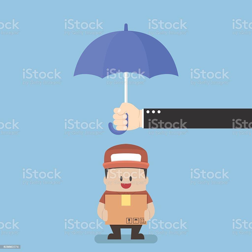 Businessman holding parcel box protected by big umbrella vector art illustration