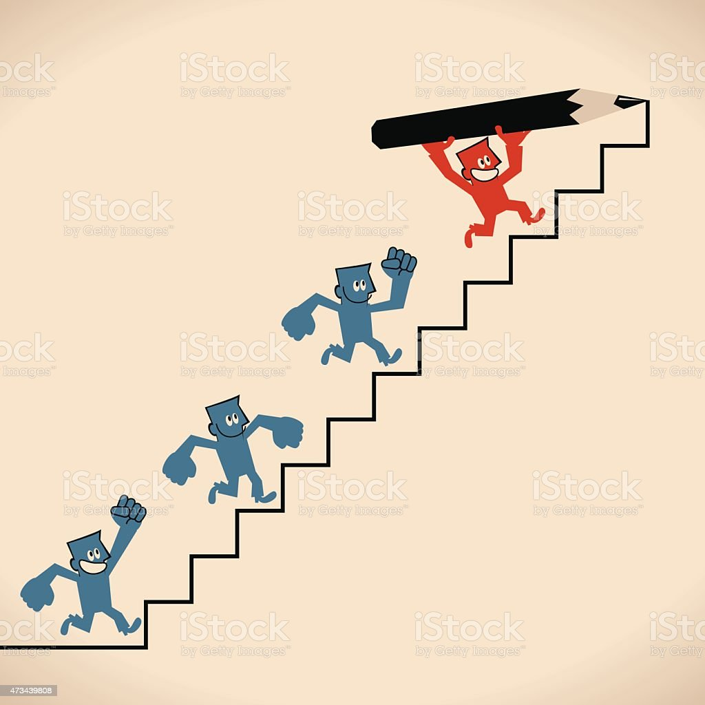 Businessman, holding pencil, drawing stairs, leading team, walking on ladder vector art illustration