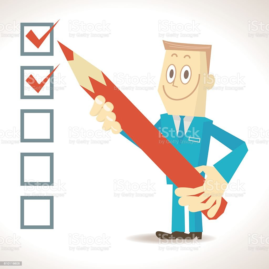 Businessman (detective) holding pencil, putting check mark in checkbox vector art illustration