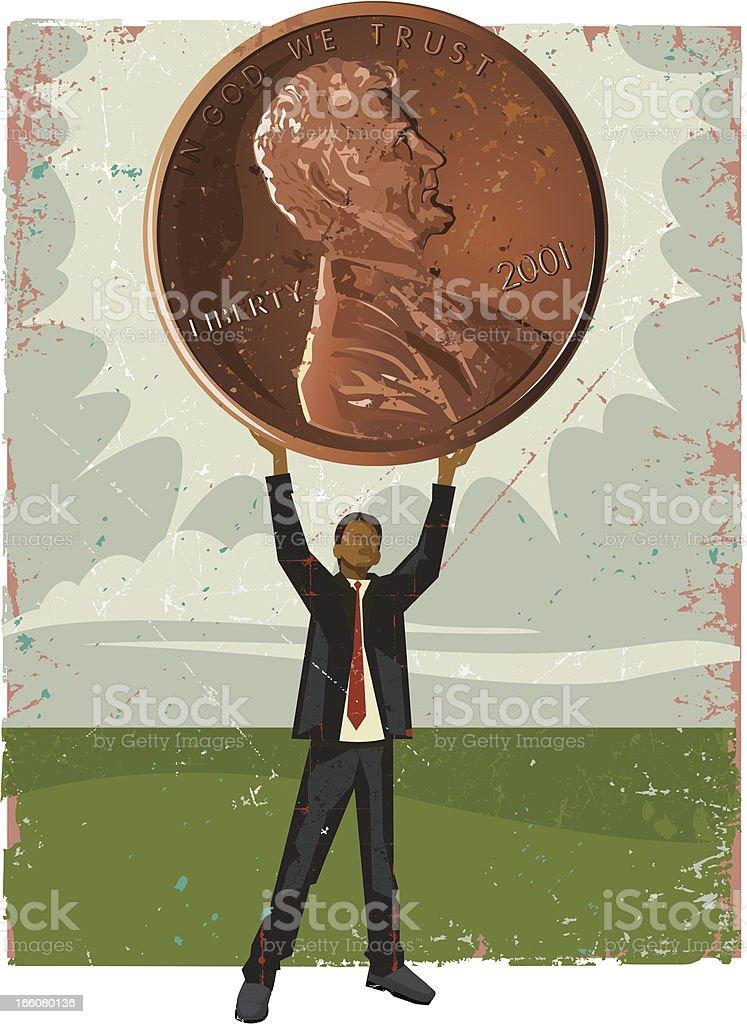 Businessman Holding Penny vector art illustration