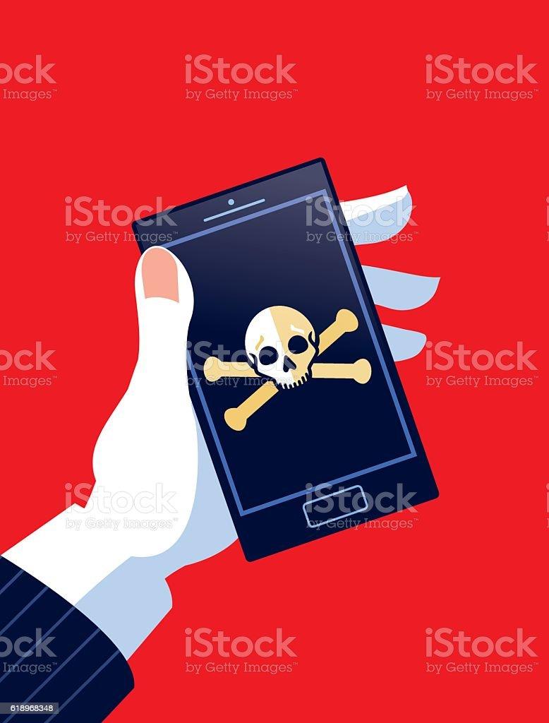 Businessman Holding Phone with Skull and Cross bones vector art illustration