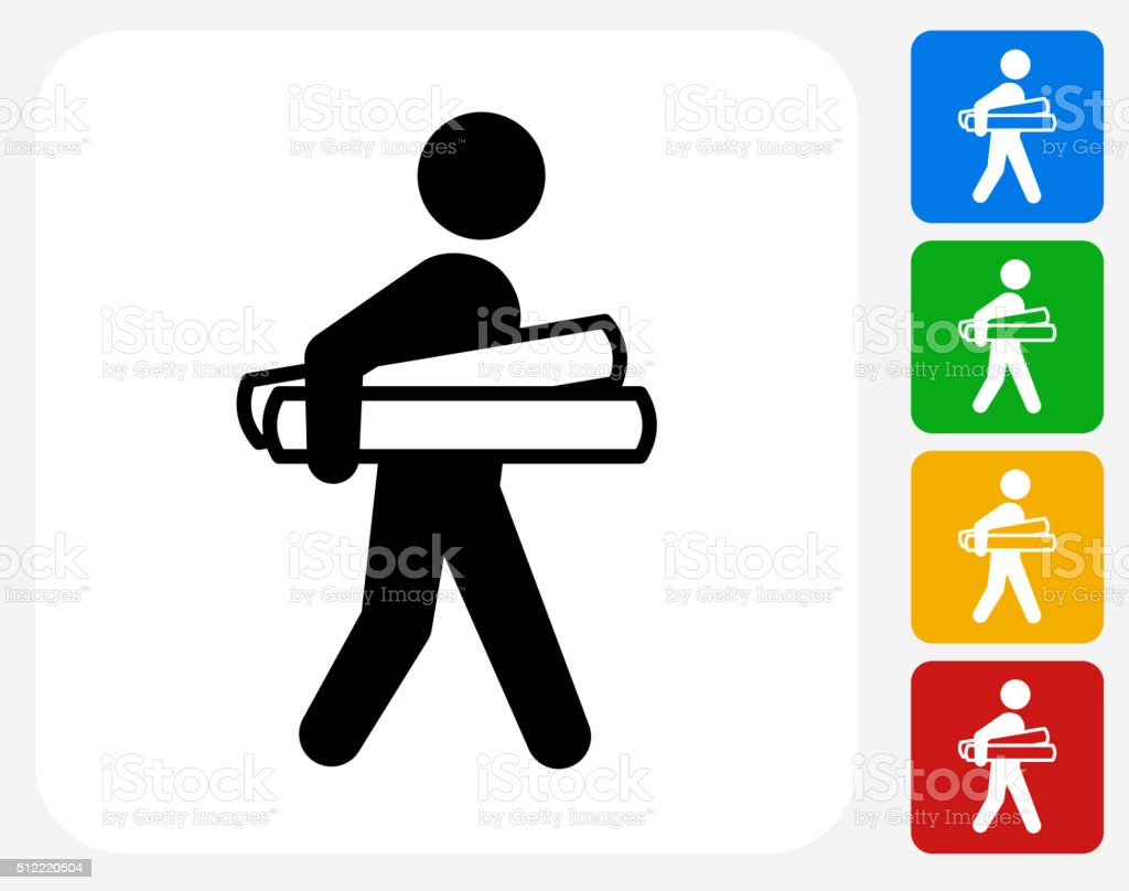 Businessman Holding Projects Icon Flat Graphic Design vector art illustration