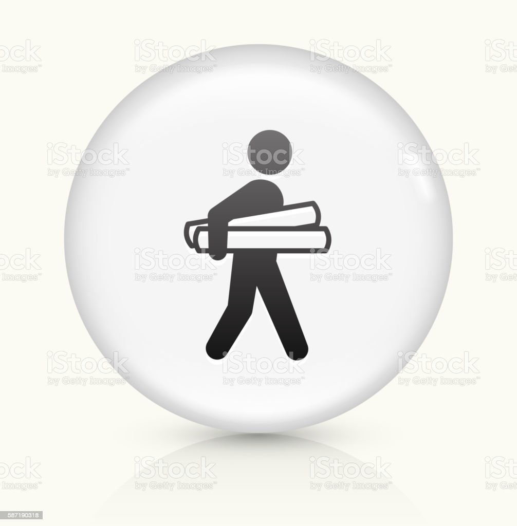 Businessman Holding Projects icon on white round vector button vector art illustration