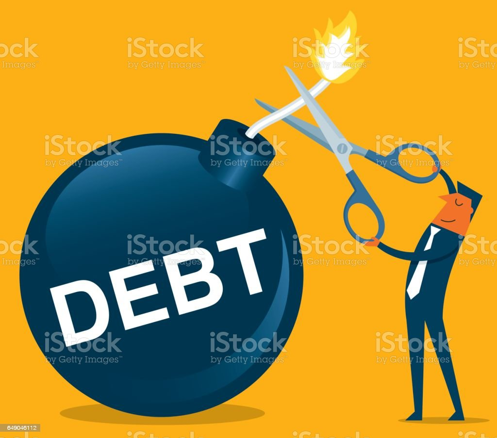 Businessman holding scissors to cut debt bomb vector art illustration