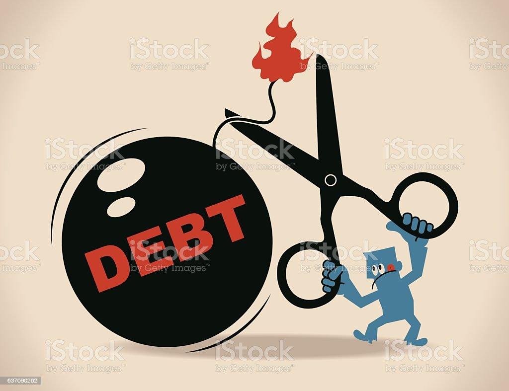 Businessman holding scissors to cut debt bomb with blasting fuse vector art illustration