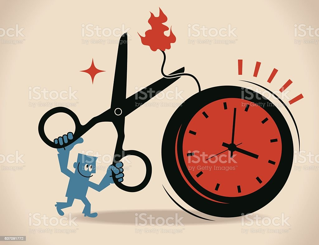 Businessman holding scissors to cut time bomb with blasting fuse vector art illustration