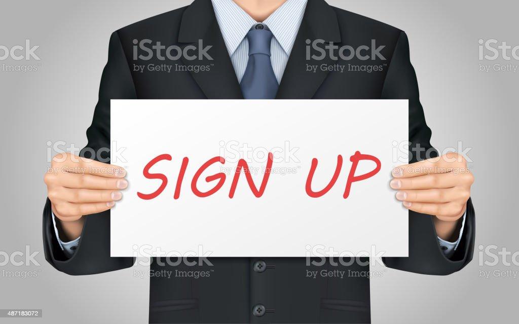 businessman holding sign up poster vector art illustration