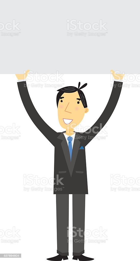 Businessman Holding Sign vector art illustration