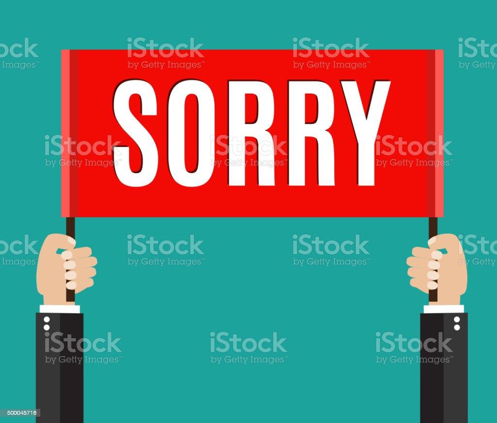 Businessman holding sorry sign vector art illustration