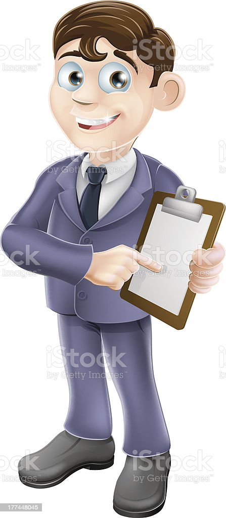 Businessman holding survey or clipboard royalty-free stock vector art