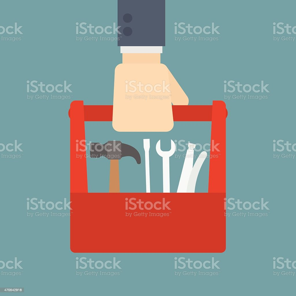 businessman holding tool box vector art illustration