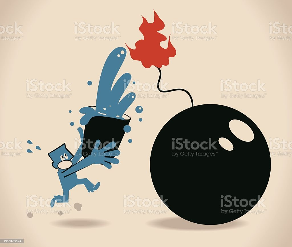 Businessman holding water bucket, stopping the bomb, put out fire vector art illustration
